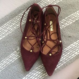 Gorgeous oxblood Lace up flats